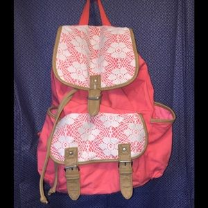 Aeropostale 💯 Cotton Canvas Coral & Lace Backpack